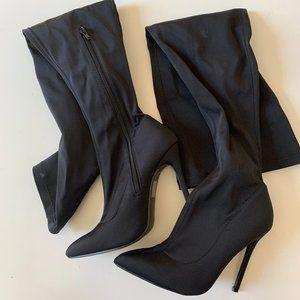 PLT Black Lycra Thigh High Boots